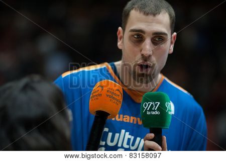 VALENCIA, SPAIN - FEBRUARY 15: Aguilar during Spanish League match between Valencia Basket Club and Real Madrid at Fonteta Stadium on February 15, 2015 in Valencia, Spain