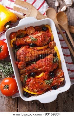 Chicken Legs Baked In Tomato Sauce Vertical Top View