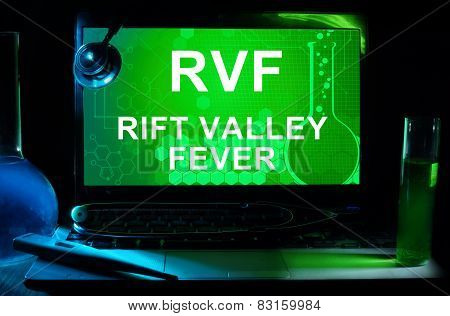 Computer with words Rift Valley fever (RVF).