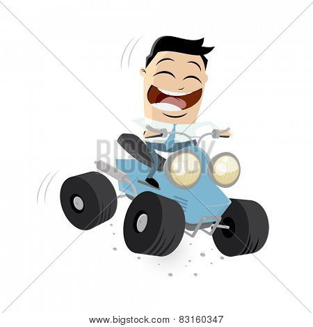 funny businessman is riding a quad bike