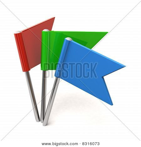 Colored flag pins
