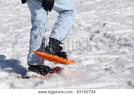 Woman Walking With Snowshoes