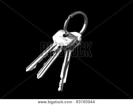 Keys isolated on black background