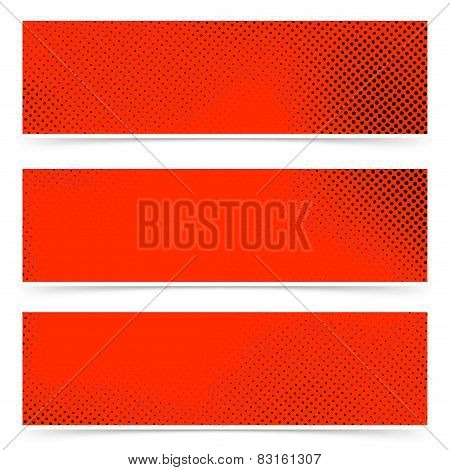 Pop Art Style Dotted Red Banners Collection
