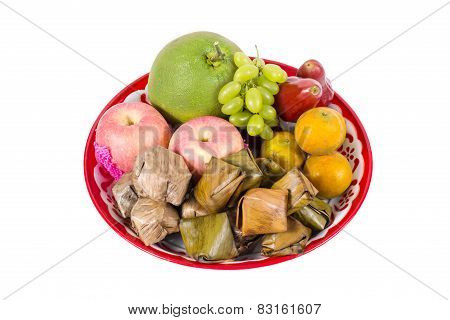 Assorted Fruit, Dessert On Tray For Chinese New Year Celebration Isolated