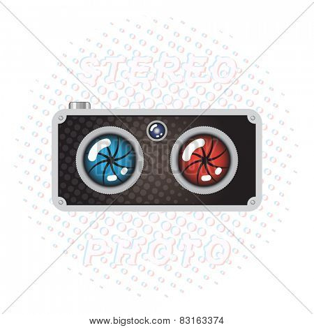 Hipster Retro Style Stereo Photo Camera