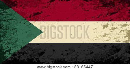 Sudanese flag. Grunge background. Vector illustration