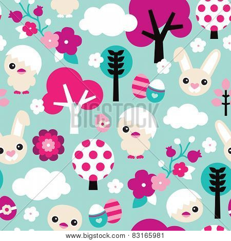 Seamless spring animal garden easter chicken and bunny illustration background pattern in vector