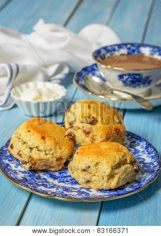 Vintage tea plate full of freshly baked scones
