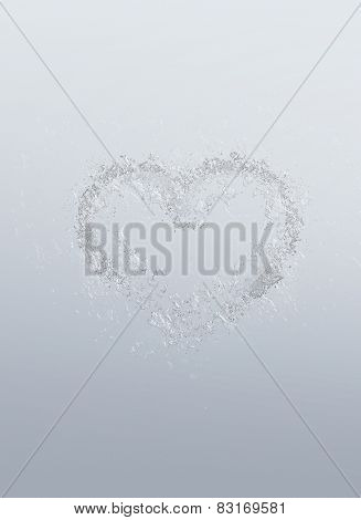 Romantic heart symbolic of love and romance formed of water bubbles over a graduated grey background for Valentines Day or anniversary wishes to a loved one