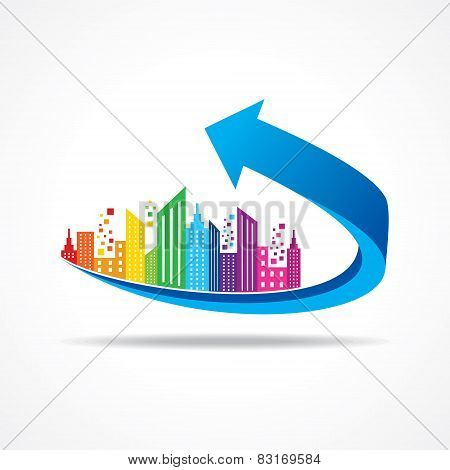 Colorful cityscape on business arrow stock vector