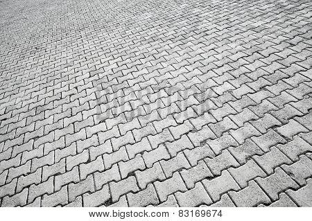 Texture Of Modern Gray Cobblestone Road Pavement