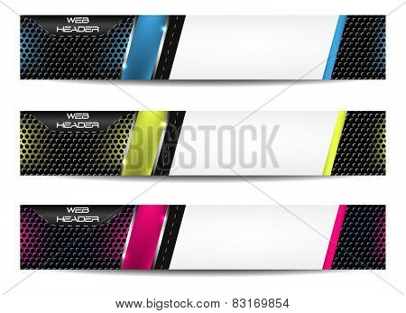 Web header, set of vector banner. Design with precise dimension.