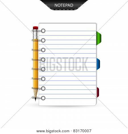 Notepad, bookmarks and pencil isolated