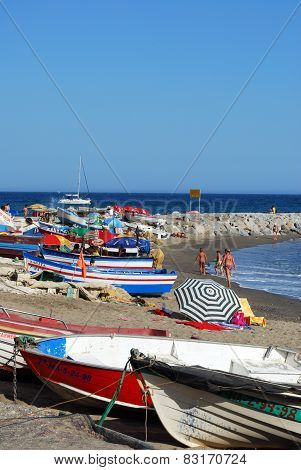 Fishing boats on beach, Marbella.