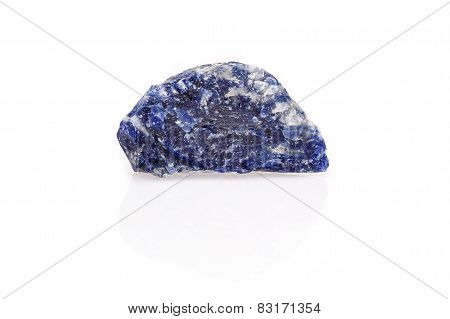 Blue Black White Sodalite Gem Rough Isolated