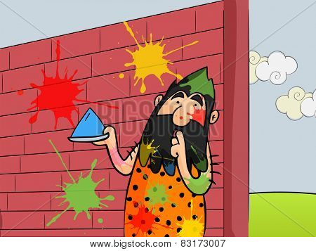 Funny caveman holding dry color (gulal) and waiting silently for someone on occasion of Indian festival, Holi celebration.