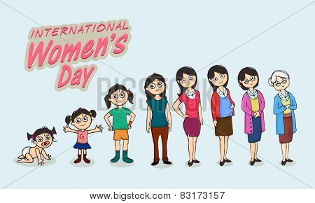 Life circle of a women, various stages from kid to old, dedicated to International Women's Day celebrations.