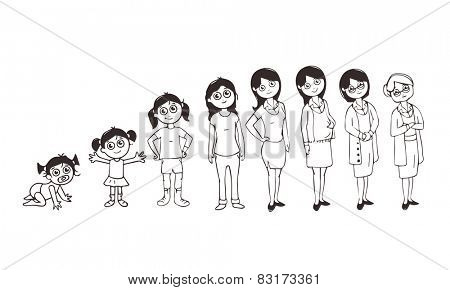 Sketch and caricature, life circle of a women, various stages from kid to old, dedicated to International Women's Day celebrations.