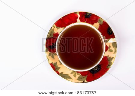 top view traditional red cup of tea, isolated on white background