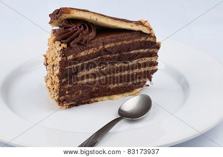 A Slice Of Chocolate Cake With Chocolate Glossy Syrup Topping And Chocolate Flower And A Spoon On A