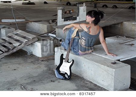 Grunge/Punk Rocker Girl with Guitar (4)