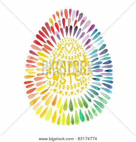Vector greeting floral cards for Easter, vector illustration, watercolor colourful easter egg with l