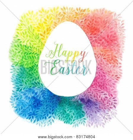 greeting floral cards for Easter, vector illustration, watercolor colourful easter egg