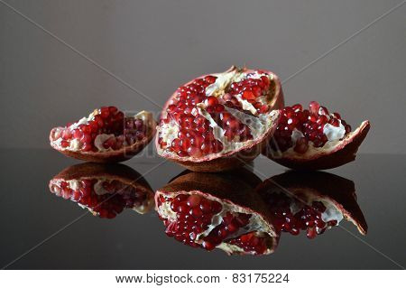 Pieces of garnet in the glass