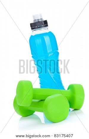 Two green dumbells and water bottle. Fitness and health. Isolated on white background