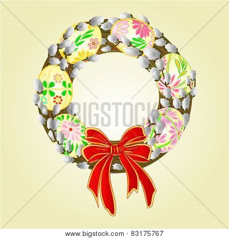 Easter Wreath With Pussy Willow And Easter   Eggs Vector