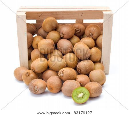 Spilled Kiwifruits In Wooden Crate