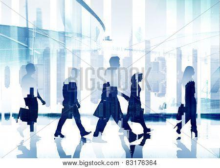 Business People Commuter Rush Hour Direction Walking Concept