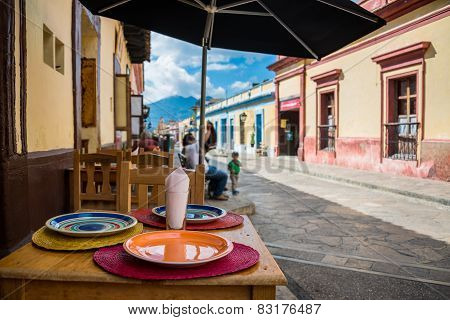 Mexico Typical Street In San Cristobal De Las Casas. Town Located In The Central Highlands Region Of