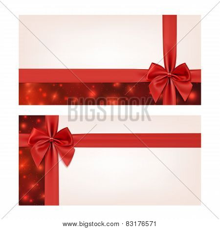 Gift voucher template with red ribbon and a bow