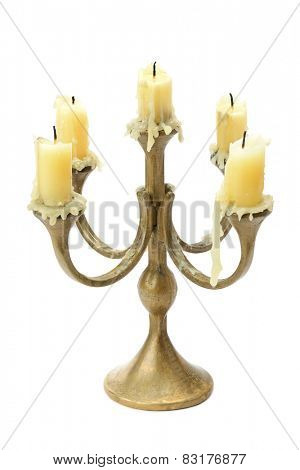 Bronze candelabrum isolated on white background