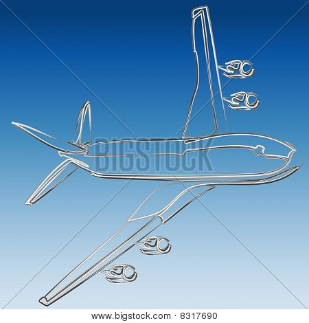Silver 3D outline of jet illustration