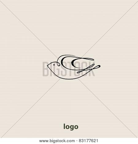 Swallow bird abstract vector logo design template.