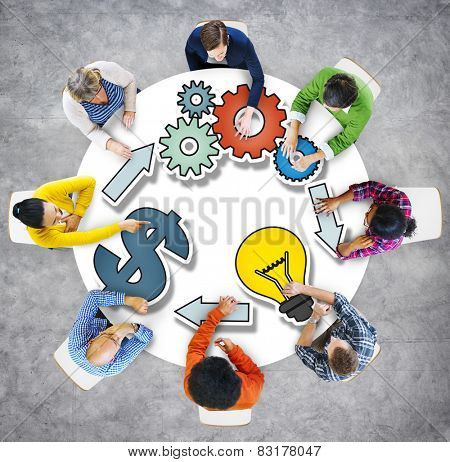 Dollar Sign Brainstorming Business Discussion Thinking Strategy Concept
