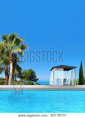 swimming pool, pavilion, palms and cypress