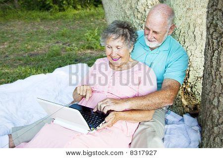 Casal sênior ao ar livre de computação