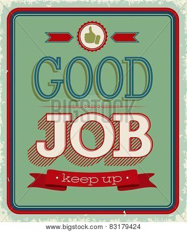 Vintage Card - Good Job.