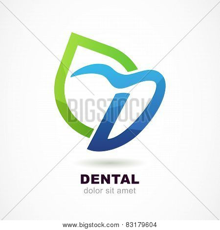 Vector Logo Design Template. Tooth Icon, Abstract Letter D Symbol And Green Leaf. Dental Clinic, Med