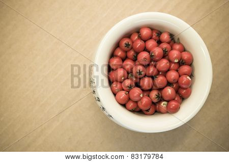 Small Wild Red Berries in a white porcelain jar