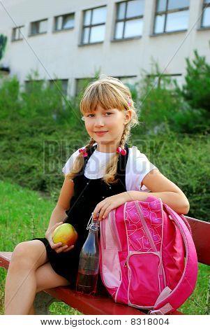 Schoolgirl During Lunch Break
