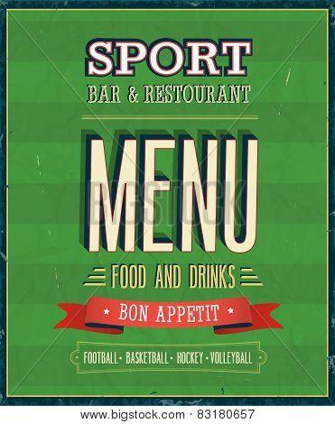 Sport Bar Menu.