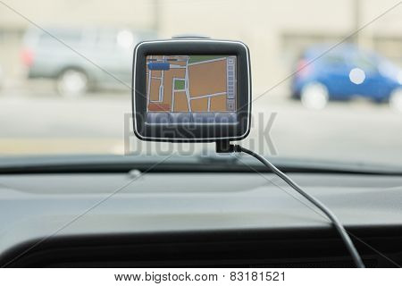 Screen of satellite navigation system in the car