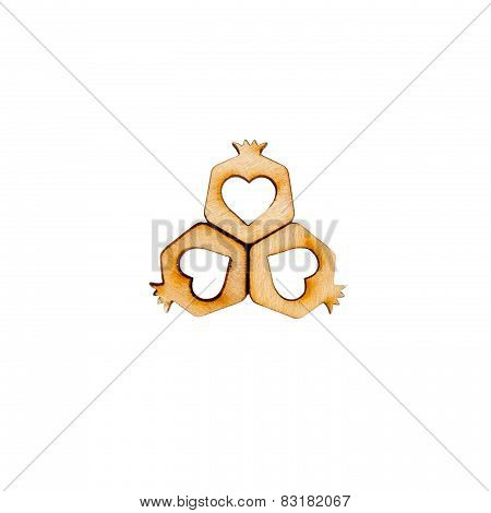 Three hearts arranged in the shape of a flower isolated on white.