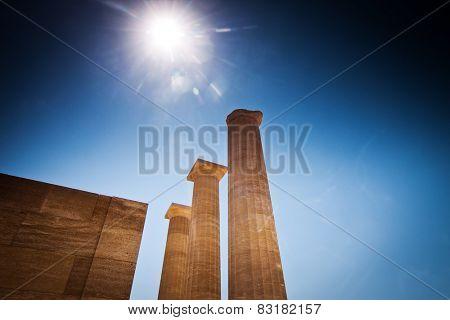 Lindos acropolis located in Rhodes Island Greece