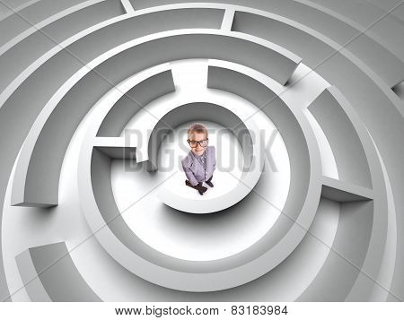 business concept. boy in  3D maze